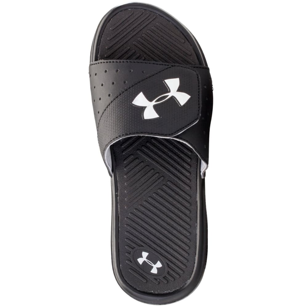 UNDER ARMOUR Boys' Playmaker V Slide Sandals, Sizes 1-6 - BLACK/METALLIC SILVE