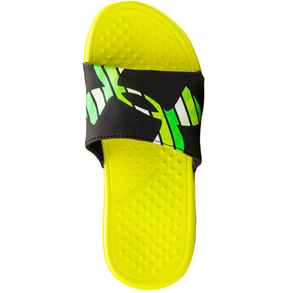 UNDER ARMOUR Boys' Strike Grid Slides - YELLOW RAY/BLACK/GRE