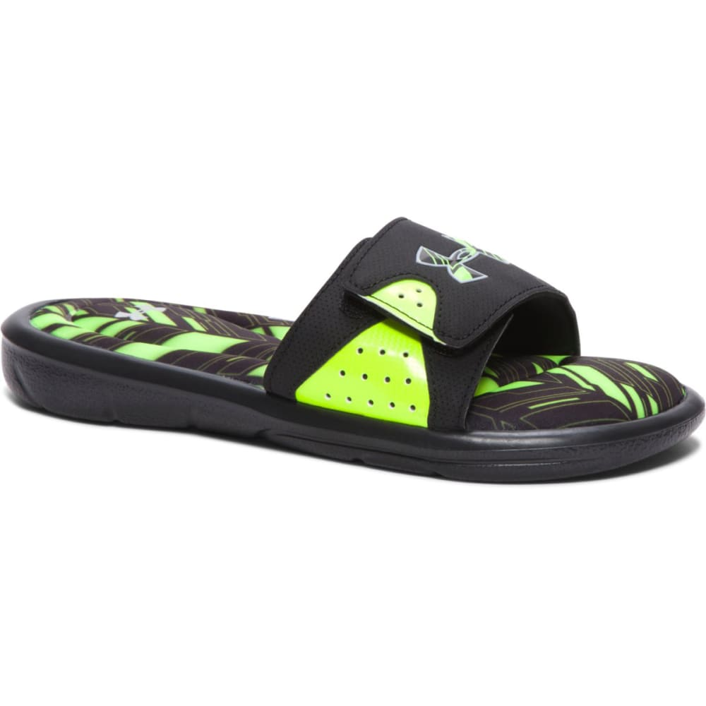 UNDER ARMOUR Boys' Ignite Banshee II Slides - BLH/HIGH YELLOW