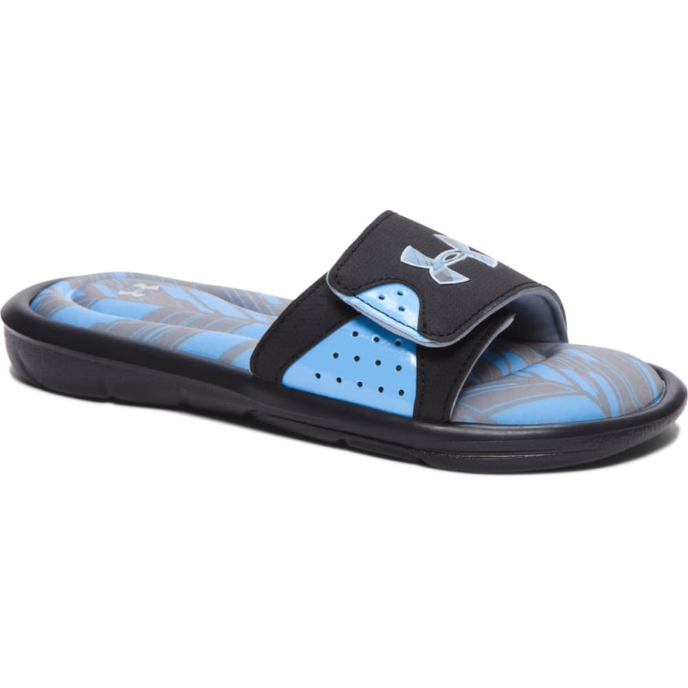UNDER ARMOUR Boys' Ignite Banshee II Slides - BLK/CAROLINA BLUE
