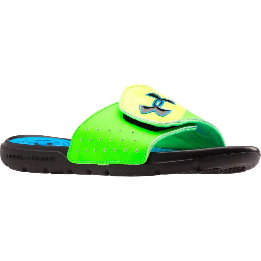 UNDER ARMOUR Boys' Playmaker V Slides - BLACK/BLUE/GREEN