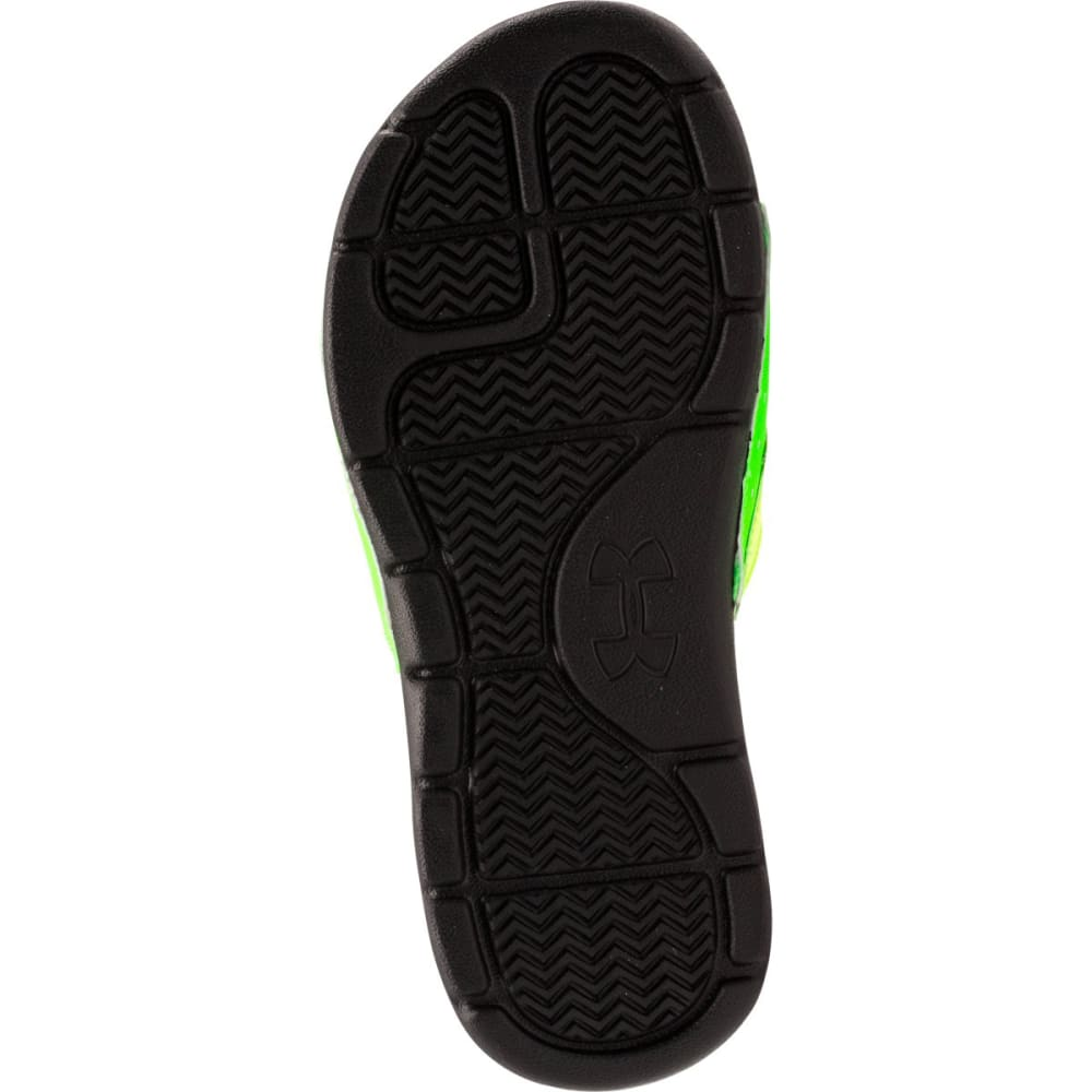UNDER ARMOUR Boys' Playmaker V Slides - BLACK/BLUE/GREEN