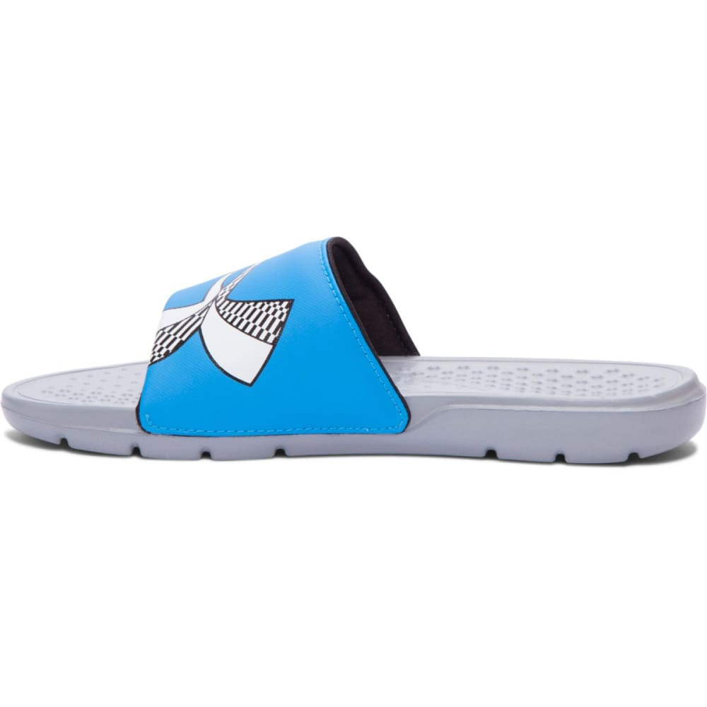 UNDER ARMOUR Boys' Strike Checkerboard Slides - STEEL/ELECTRIC BLUE