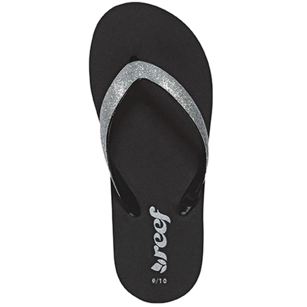 REEF Girls' Little Stargazer Sandals, 13 - BLACK/SILVER