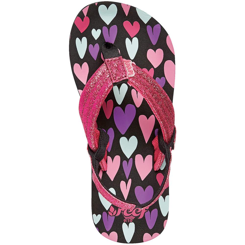 REEF Girls' Ahi Stars Sandals - BLACK/PINK