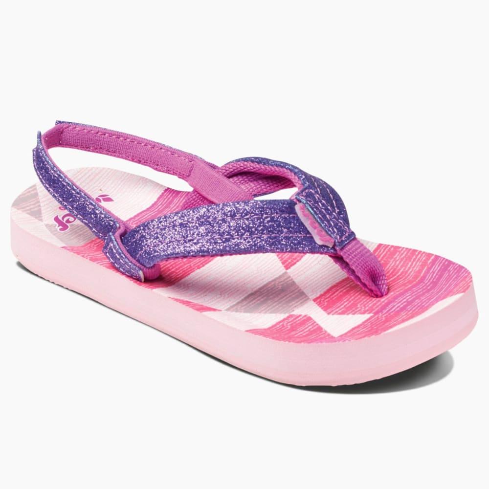 REEF Girls' Little Ahi Stars Sandals - PURPLE