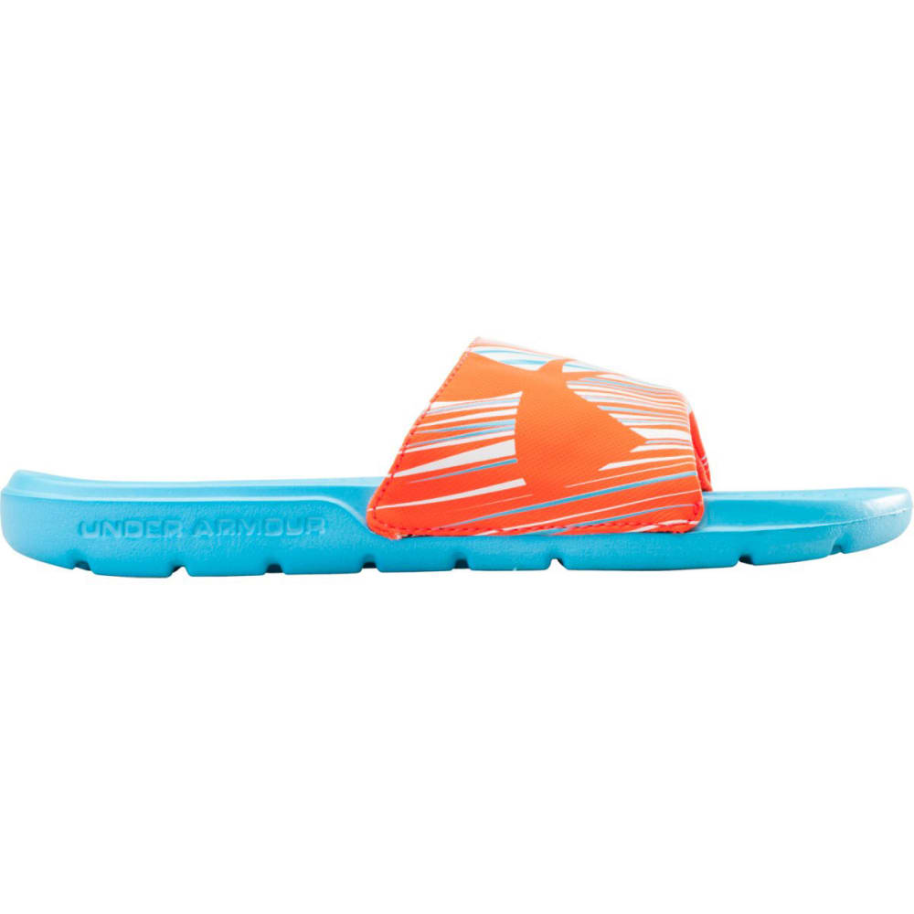 UNDER ARMOUR Girls' Strike Wind Sandals - SURFS UP/AFTER BURN/