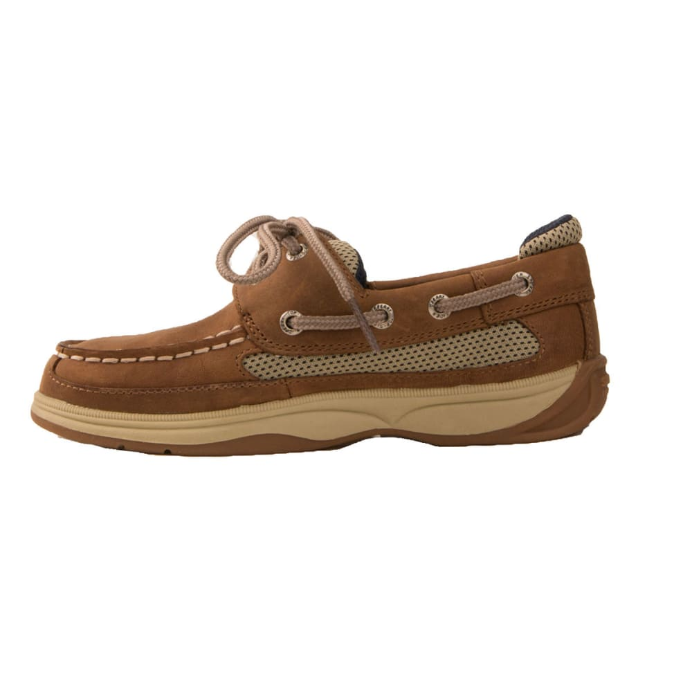 SPERRY Boy's Lanyard Boat Shoes - DARK TAN/NAVY