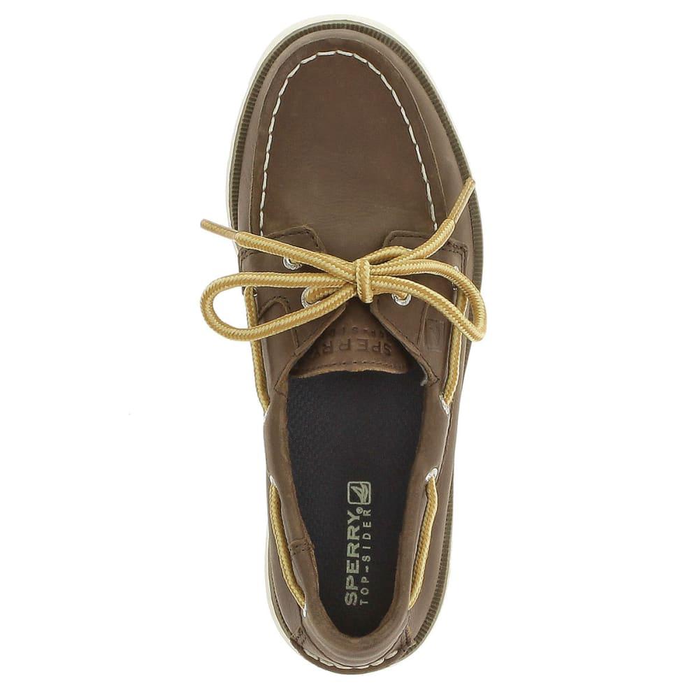 SPERRY Boy's Leeward Boat Shoes - DARK BROWN