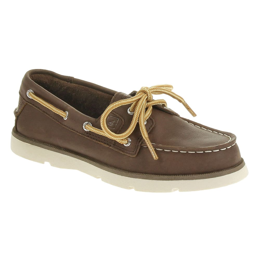 SPERRY Boy's Leeward Boat Shoes - DARK BROWN
