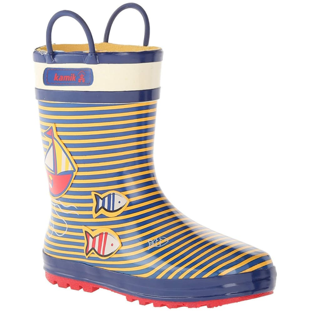KAMIK Toddler Boys' Ahoy Sailboat Rain Boots - YELLOW/SEA BLUE