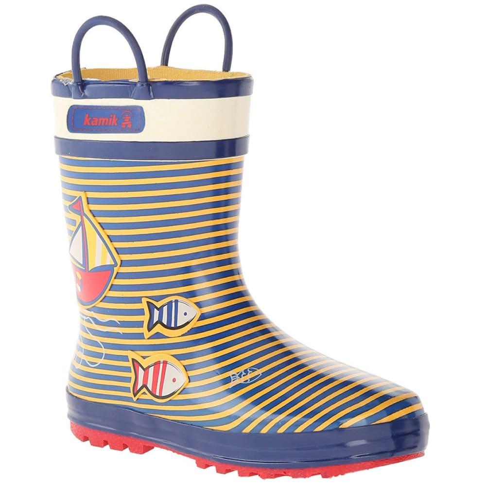 KAMIK Toddler Boys' Ahoy Sailboat Rain Boots - YELLOW/SEA BLUE
