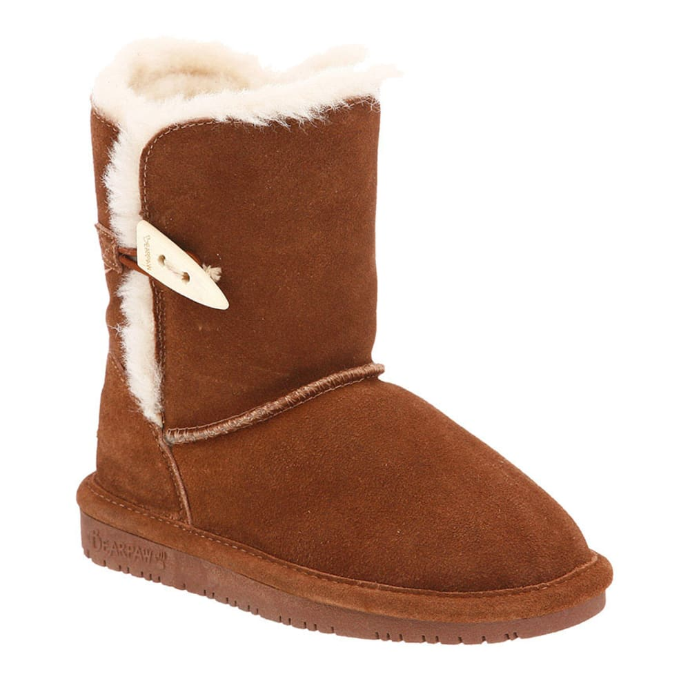 BEARPAW Girls' Abigail Boots, Hickory, 13,1-5 - HICKORY