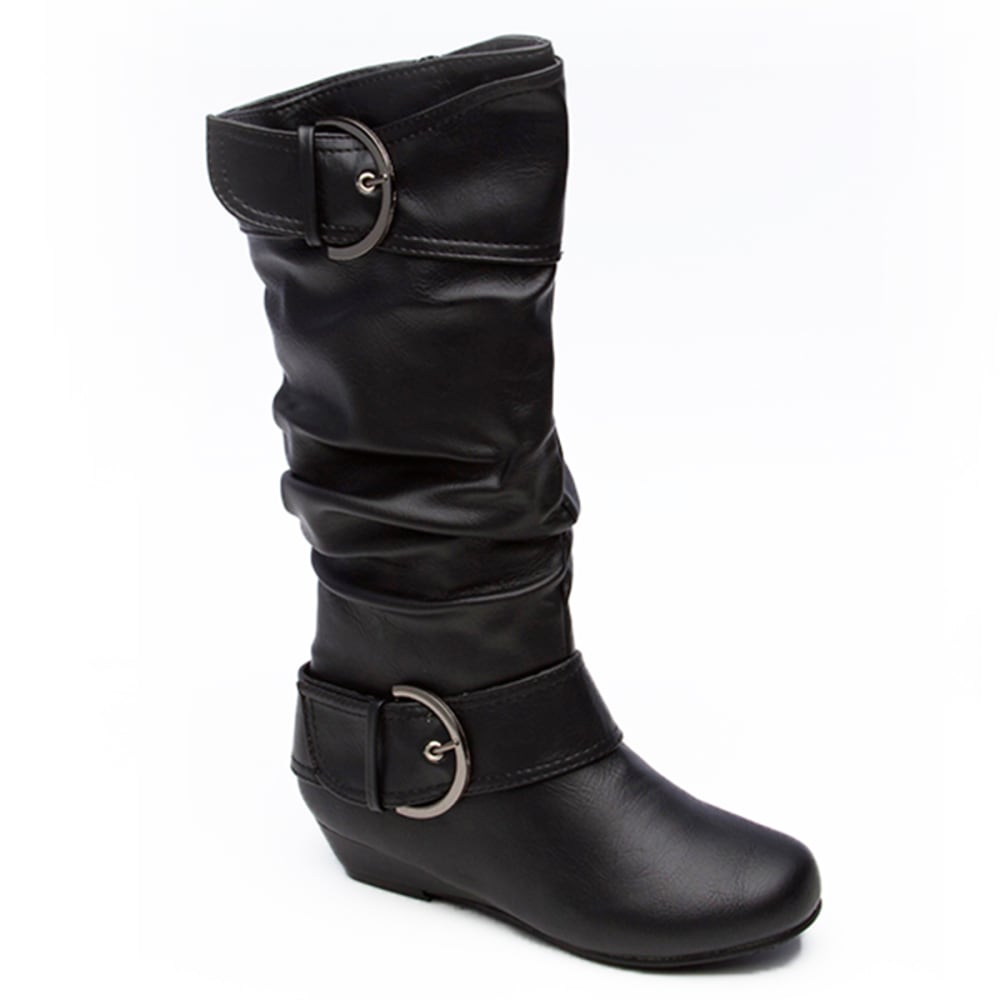 UNIONBAY Girls' Ronnie-G Slouch Boots, 11-3 - BLACK
