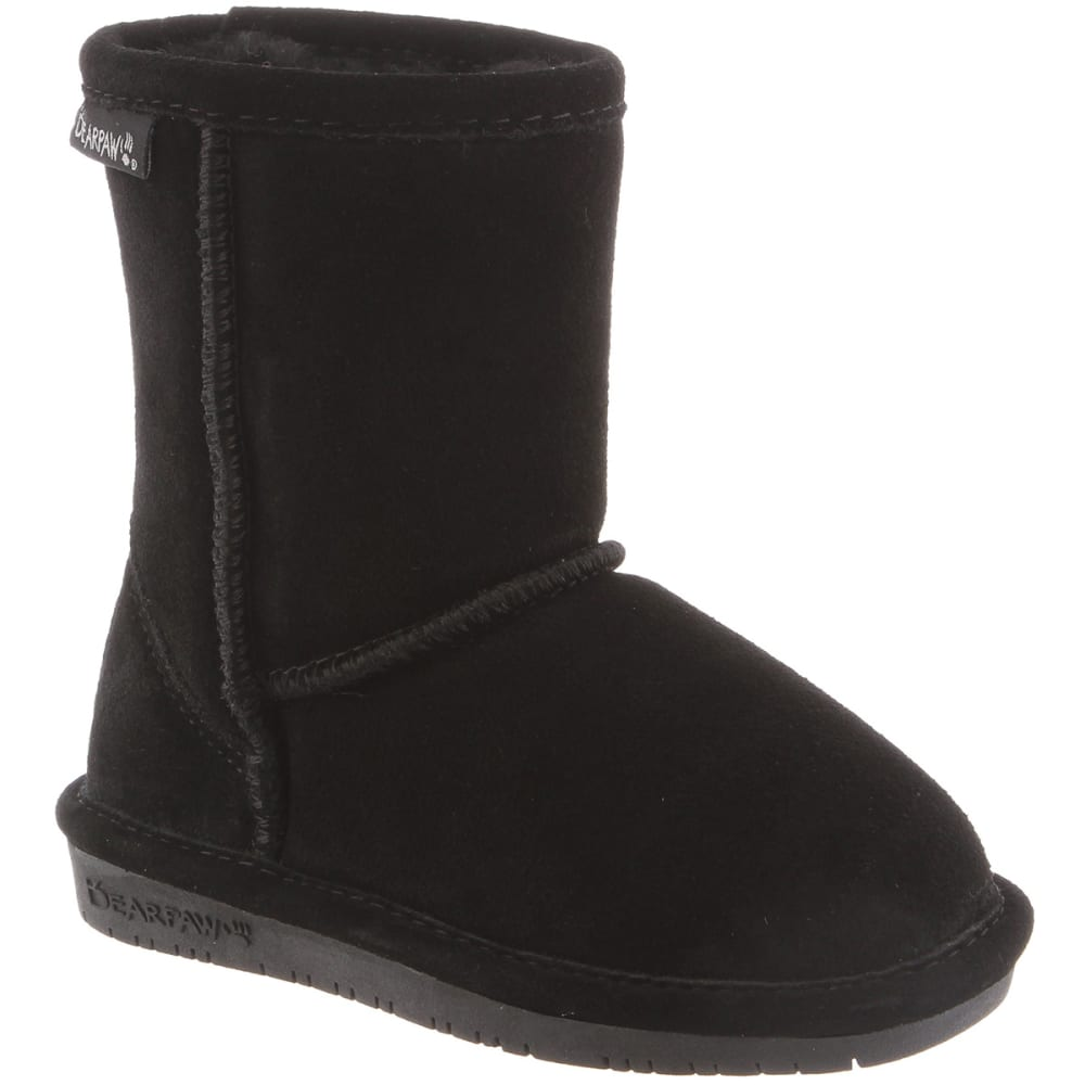 BEARPAW Girl's Emma Boots, Black, 11-12 - BLACK