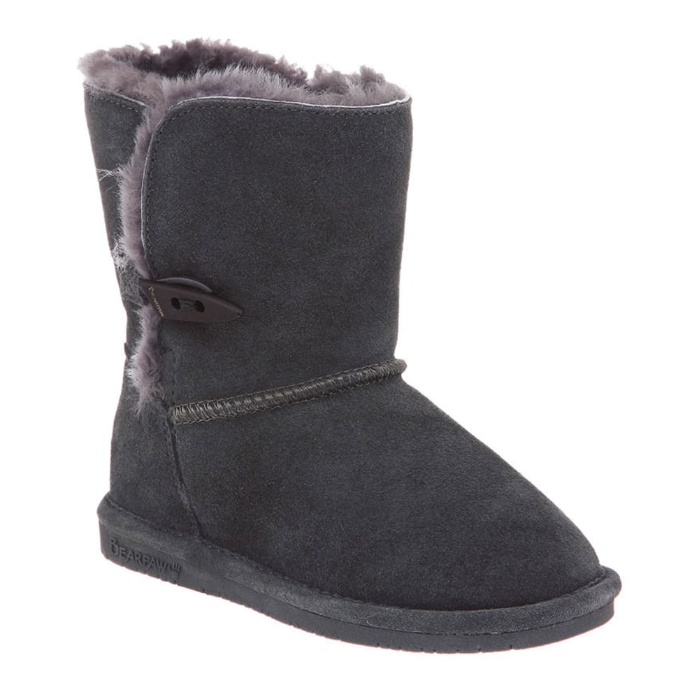 BEARPAW Girls' Abigail Boots, 13-2 - CHARCOAL
