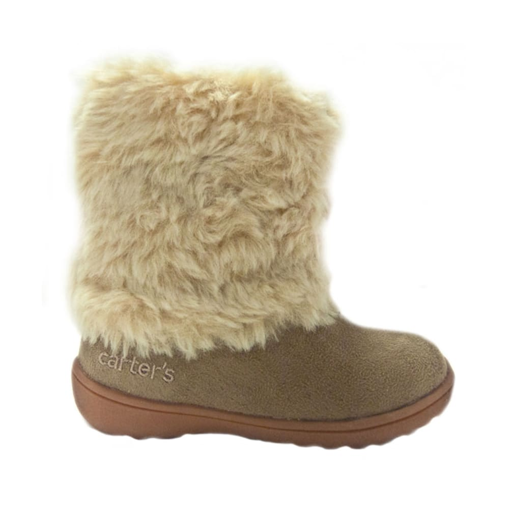 CARTER'S Girls' Fluffy Boots, Sizes 5-12 - KHAKI