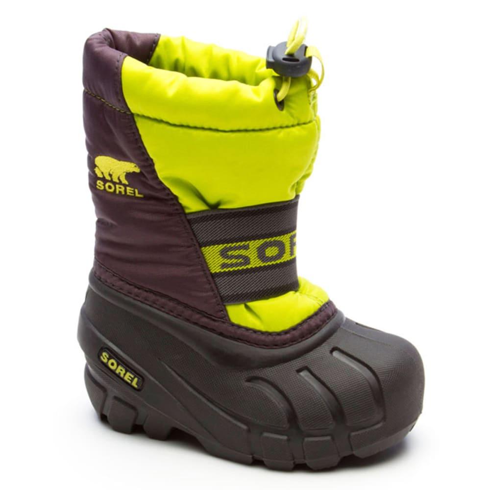 SOREL Boys' Cubs Boots, 1-4 - LIME/CHARCOAL