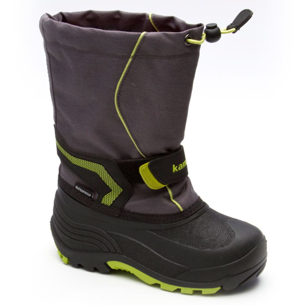 KAMIK Boys' Snowbank Boots, Sizes 1-7 - CHARCOAL/LIME