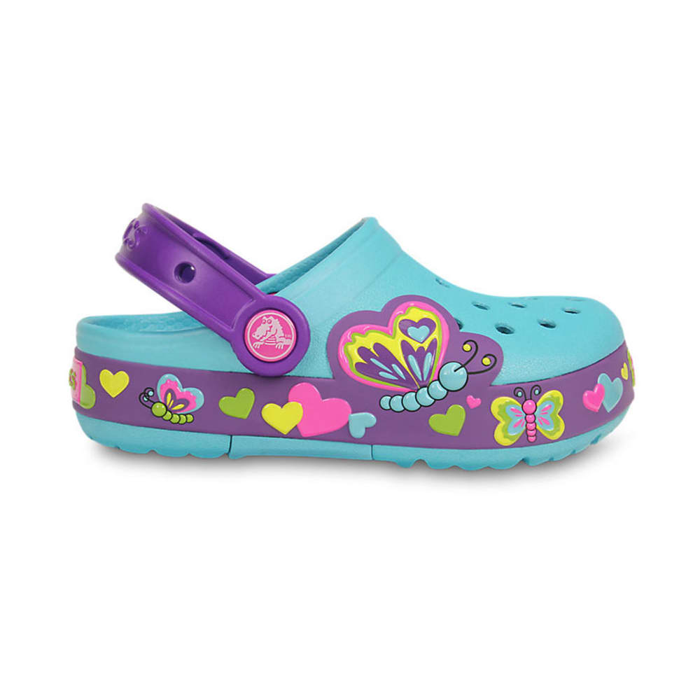 CROCS Girls' CrocsLights Butterfly Clogs, Aqua/Neon Purple (Lighted) - AQUA/NEON PURPLE