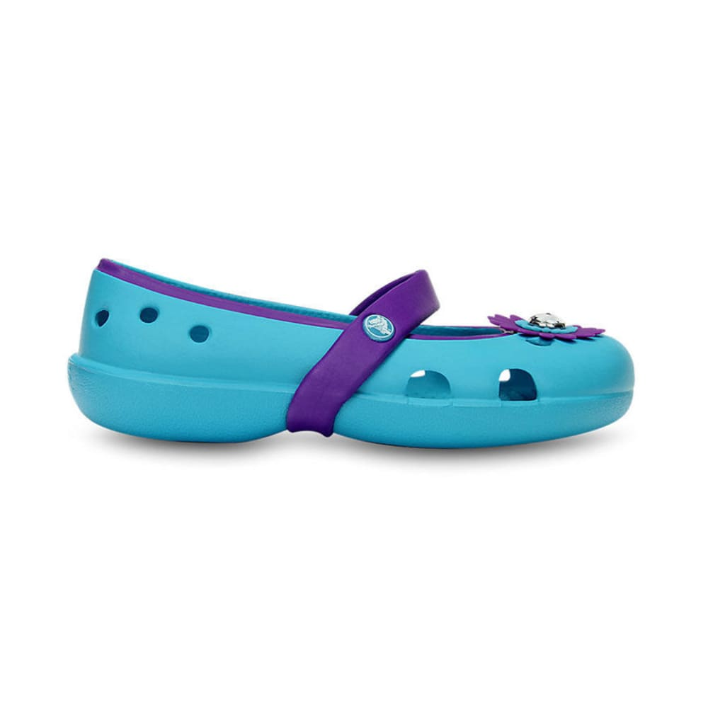 CROCS Girls' Keeley Petal Charm Flat Shoes, Surf/Neon Purple - SURF/PURPLE