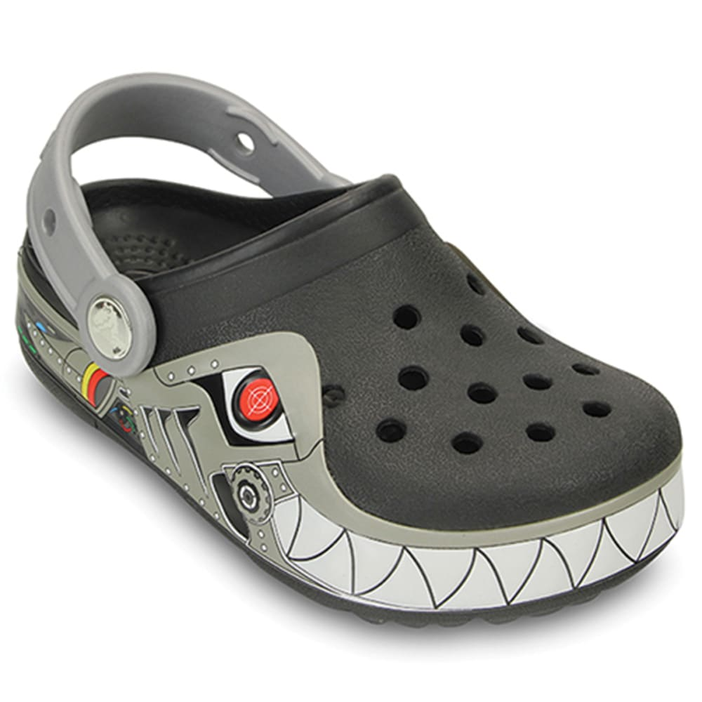 CROCS Kids' CrocsLights Robo Shark Clogs, (Lighted) - BLACK/SILVER