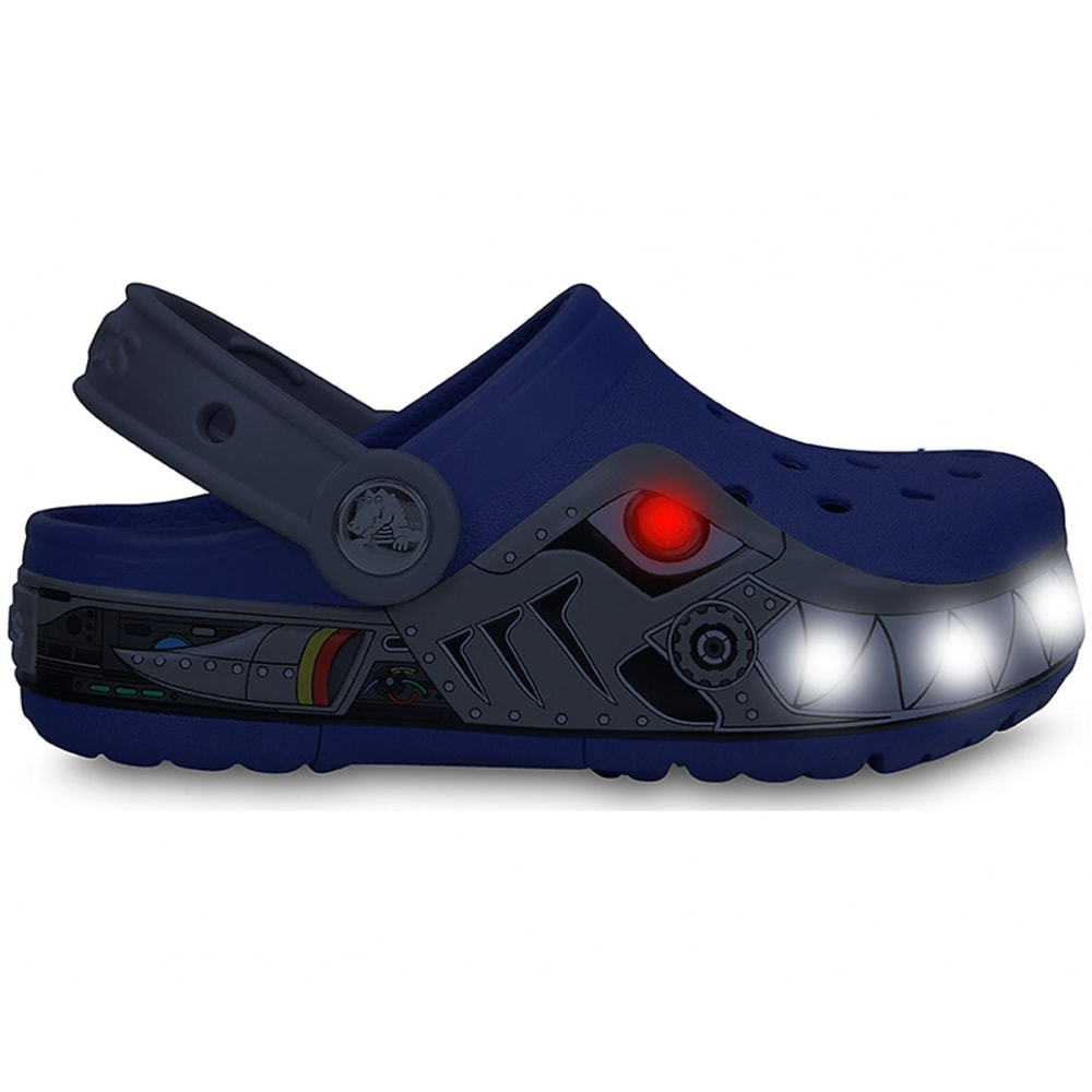 CROCS Kids' CrocsLights Robo Shark Clogs, (Lighted) - DEEP BLUE/SCATTER