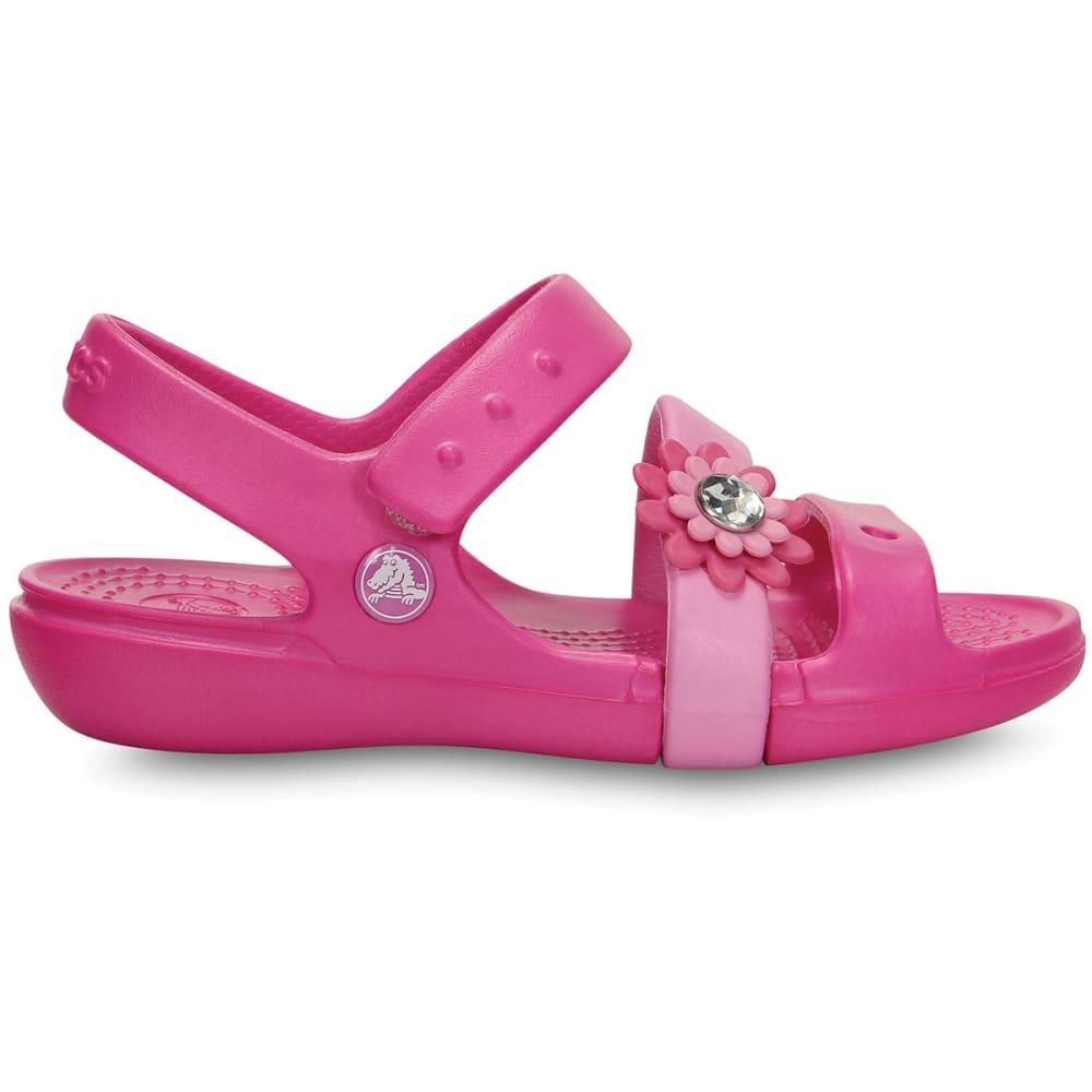 CROCS Girls' Keeley Petal Charm Sandals - NEON MAGENTA/CARNATI