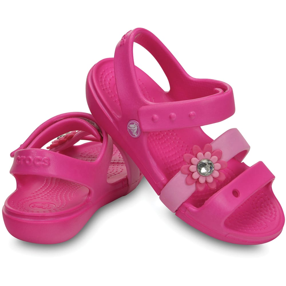 CROCS Girls' Keeley Petal Charm Sandals - NEON MAGENTA/CARNATI