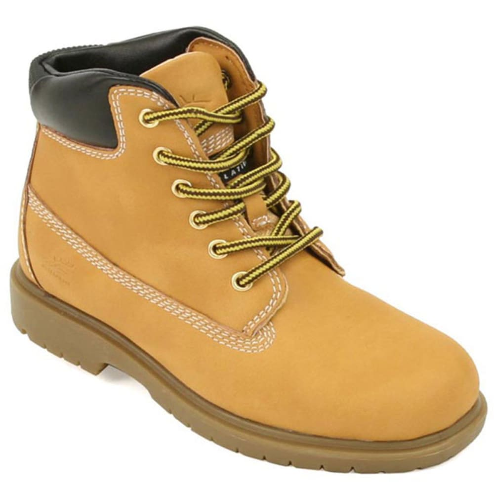 DEER STAGS Boys Mak2 Waterproof Workboot Wheat, 4-6 - WHEAT