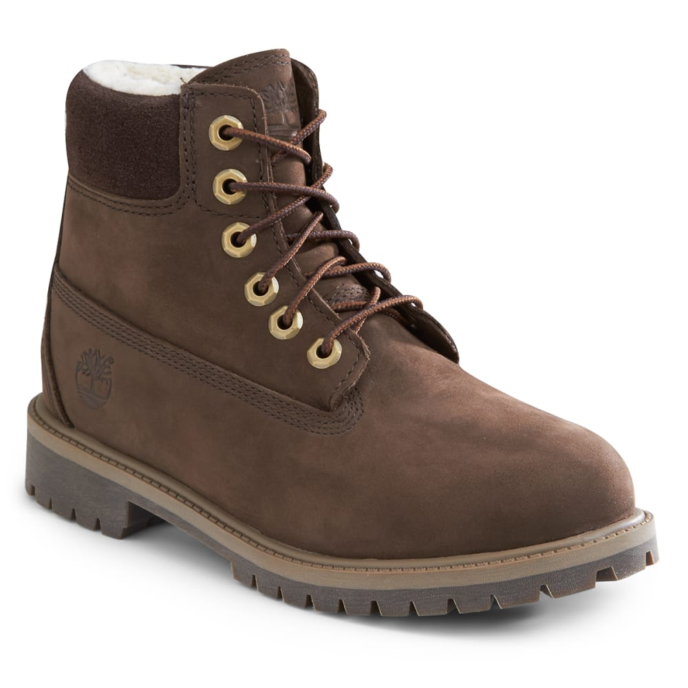 "TIMBERLAND Children's 6"" Premium Waterproof Boot with Faux Sherling - SMOKEY BROWN/OLIVE"