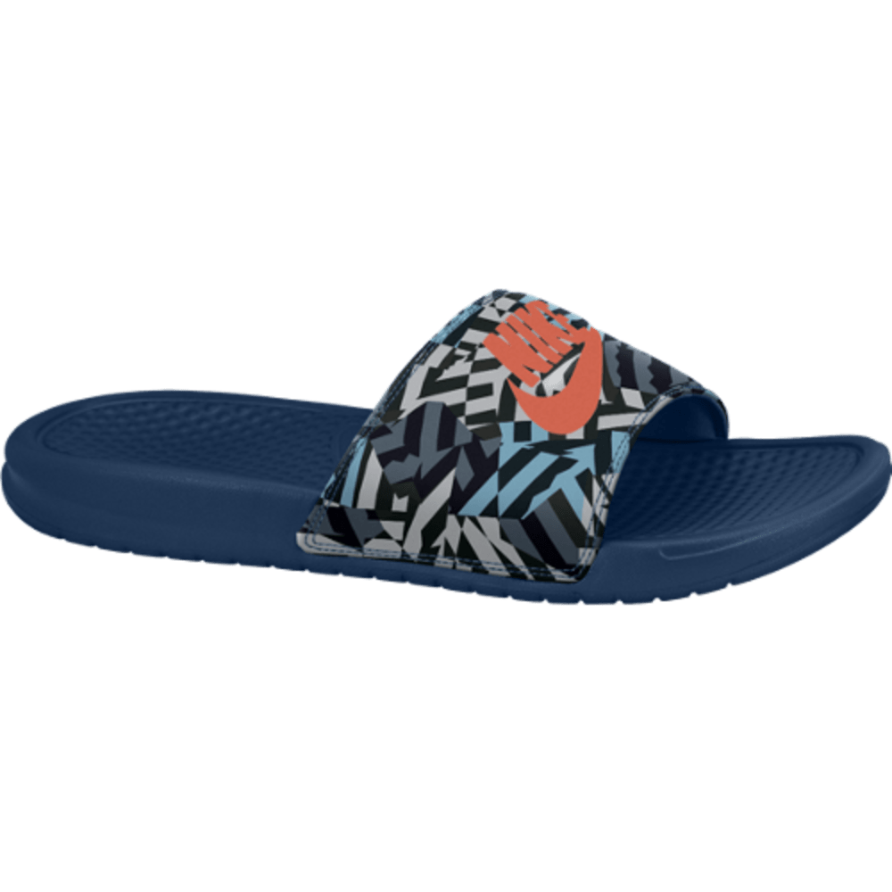NIKE Men's Benassi JDI Slide Sandals - BLUE PTRND