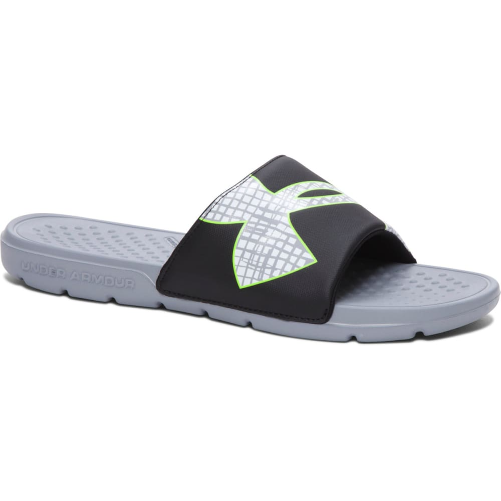 UNDER ARMOUR Men's Strike Grid Slide Sandals - STEEL