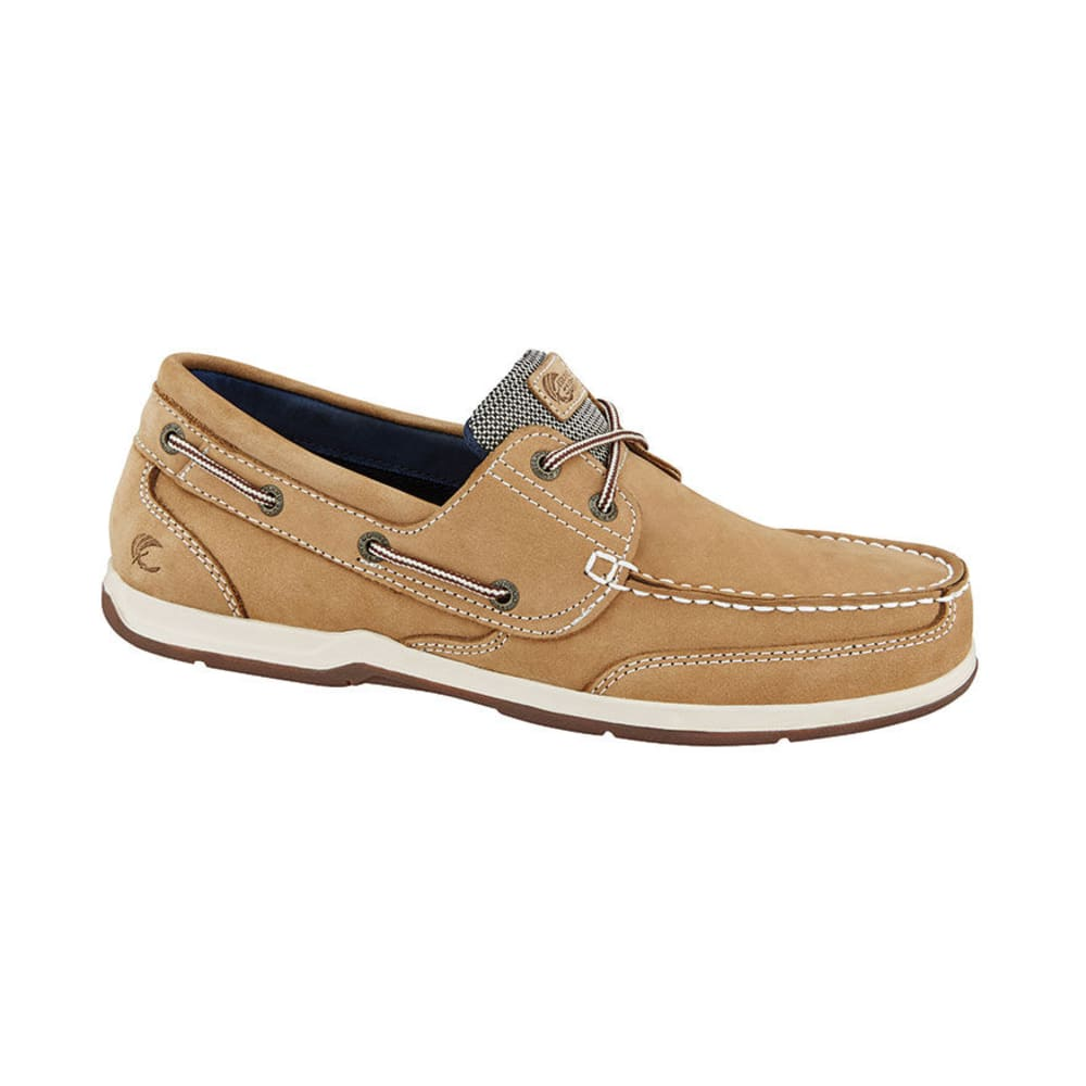 ISLAND SURF Men's Parchment Boat Shoes, Wide Width, Tan 12