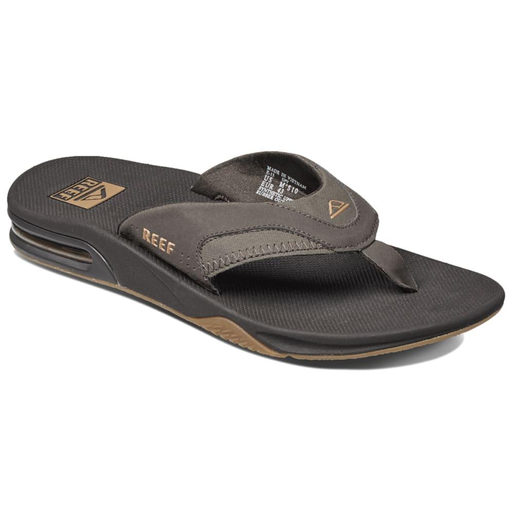 REEF Men's Fanning Flip-Flops, Brown 8