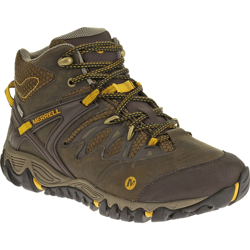 MERRELL Men's All Out Blaze Mid WP Hiking Boots, Black Slate - BLACK SLATE/YELLOW