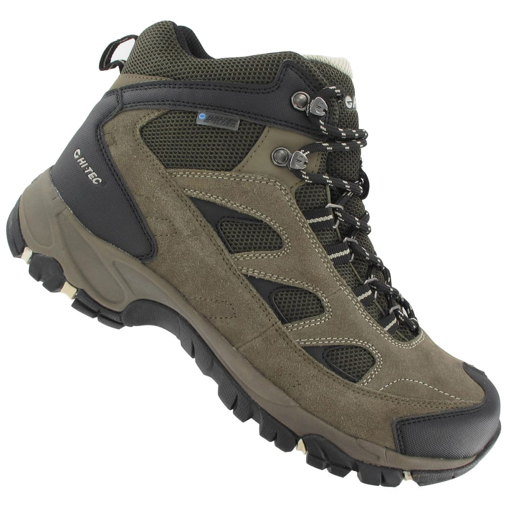 HI-TEC Men's Logan WP Hiking Boots, Smokey Brown/Olive/Snow,Wide - SMOKEY BROWN/OLIVE