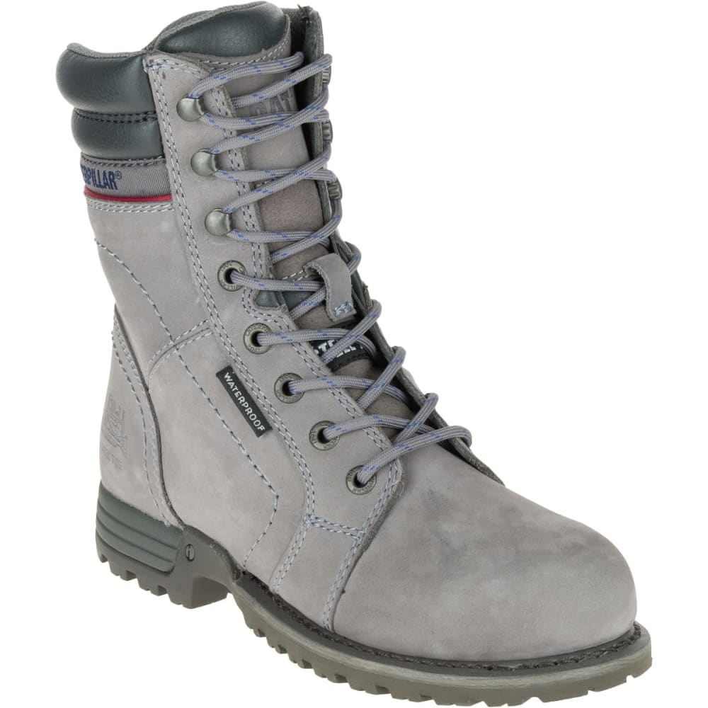 CATERPILLAR Women's Echo Waterproof Steel Toe Boots - GREY HOUNDSTOOTH