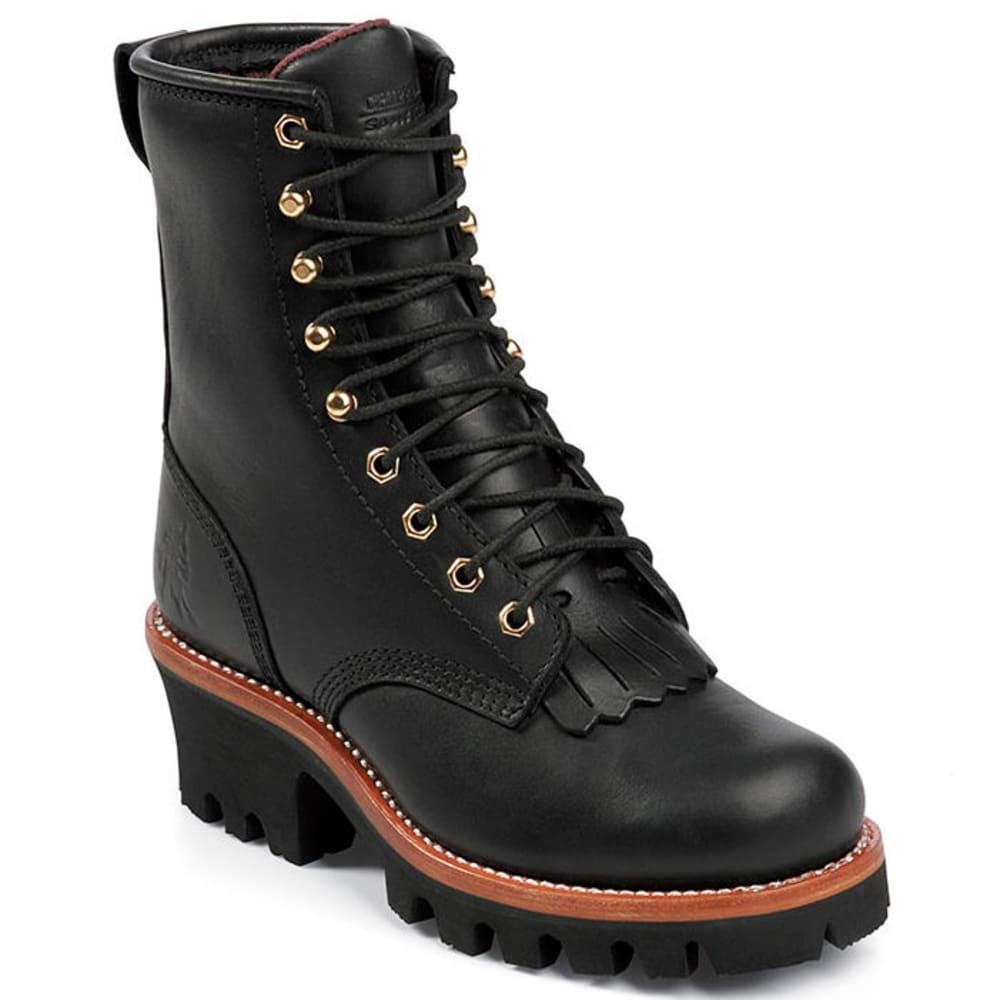 CHIPPEWA Women's L73045 Soft-Toe Logger Boots - BLACK
