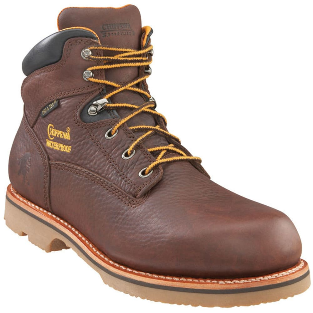 CHIPPEWA Men's Insulated Waterproof Work Boots, Wide - MAHOGANY