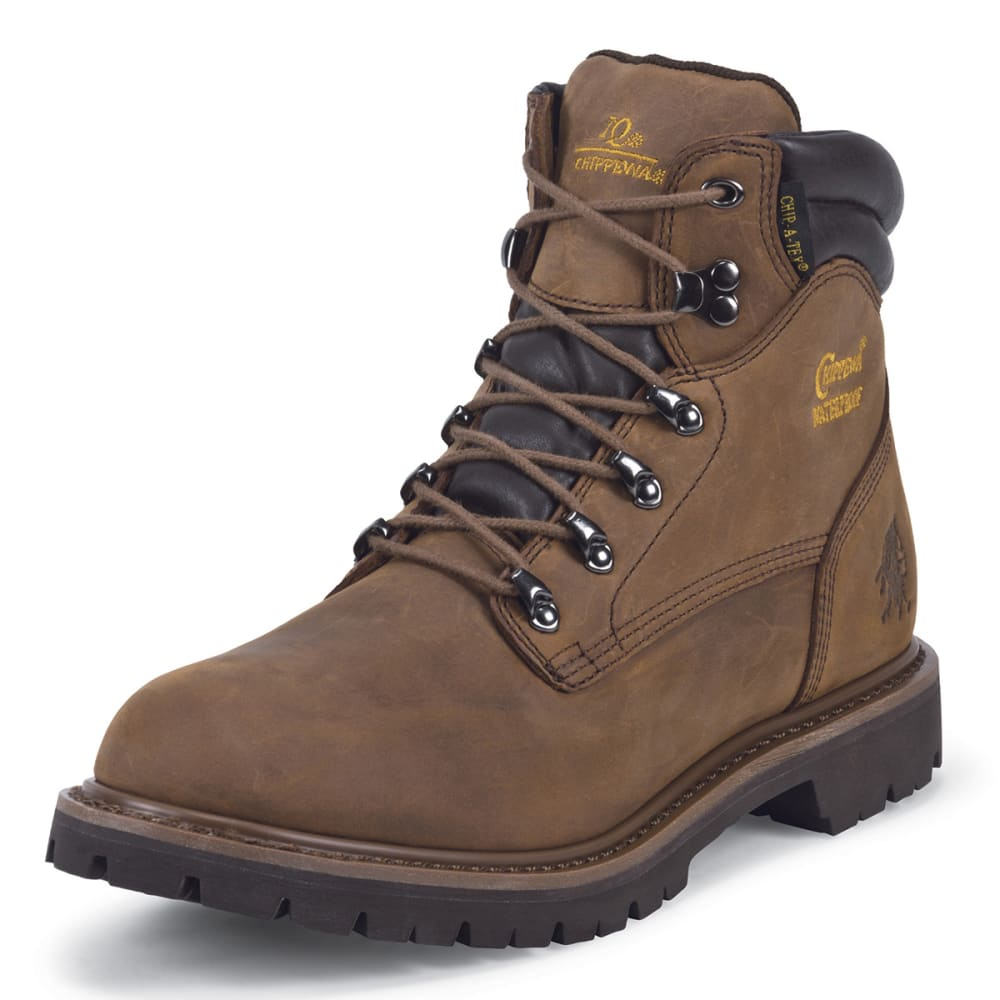 "CHIPPEWA Men's 6"" Heavy Duty Tough Bark Boots - SMOKEY BROWN/OLIVE"