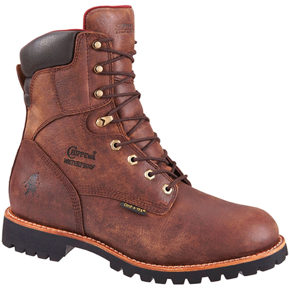 CHIPPEWA Men's 8 in. 99932 400gm Waterproof Work Boots, Medium - BROWN