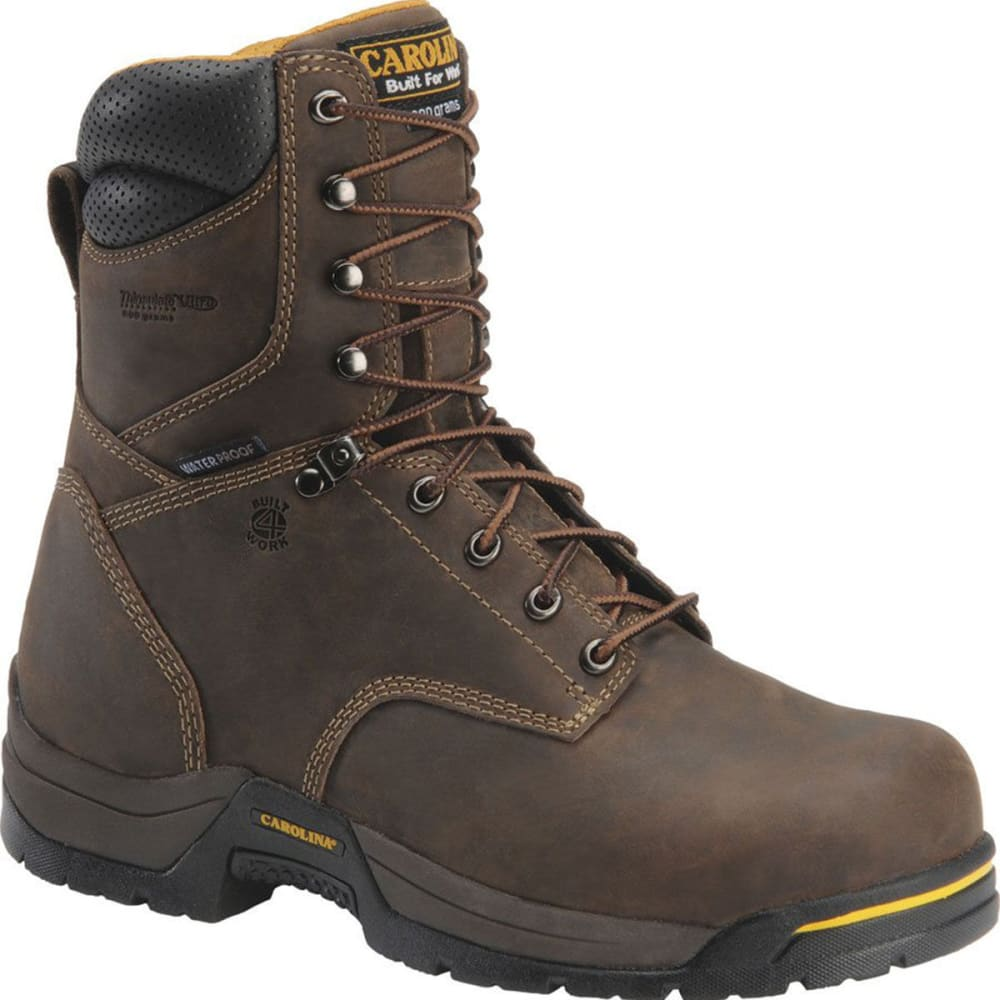 "CAROLINA Men's CA8021 8"" Insulated Waterproof Work Boots, Gaucho Crazy Horse - BROWN"