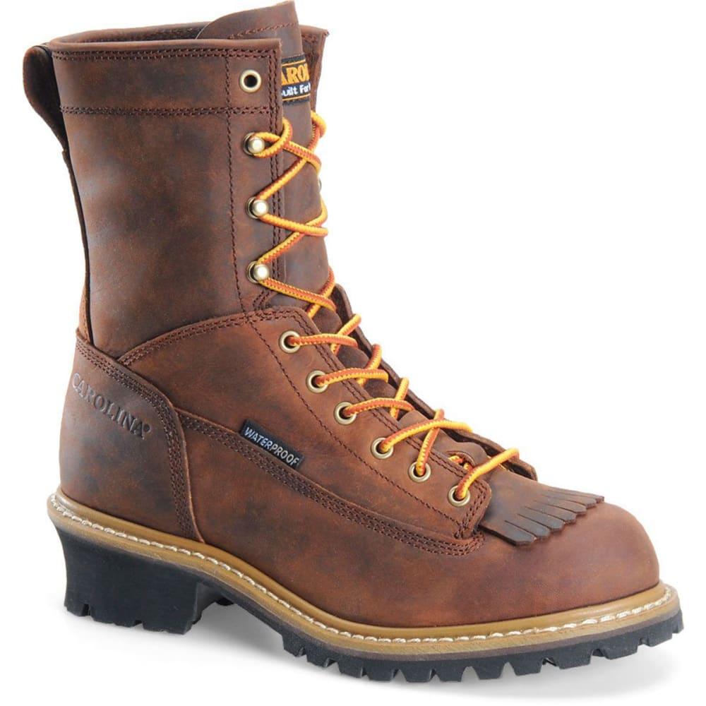 "CAROLINA Men's CA8824 8"" Lace Logger Waterproof Work Boots, Copper Crazy Horse - BROWN"
