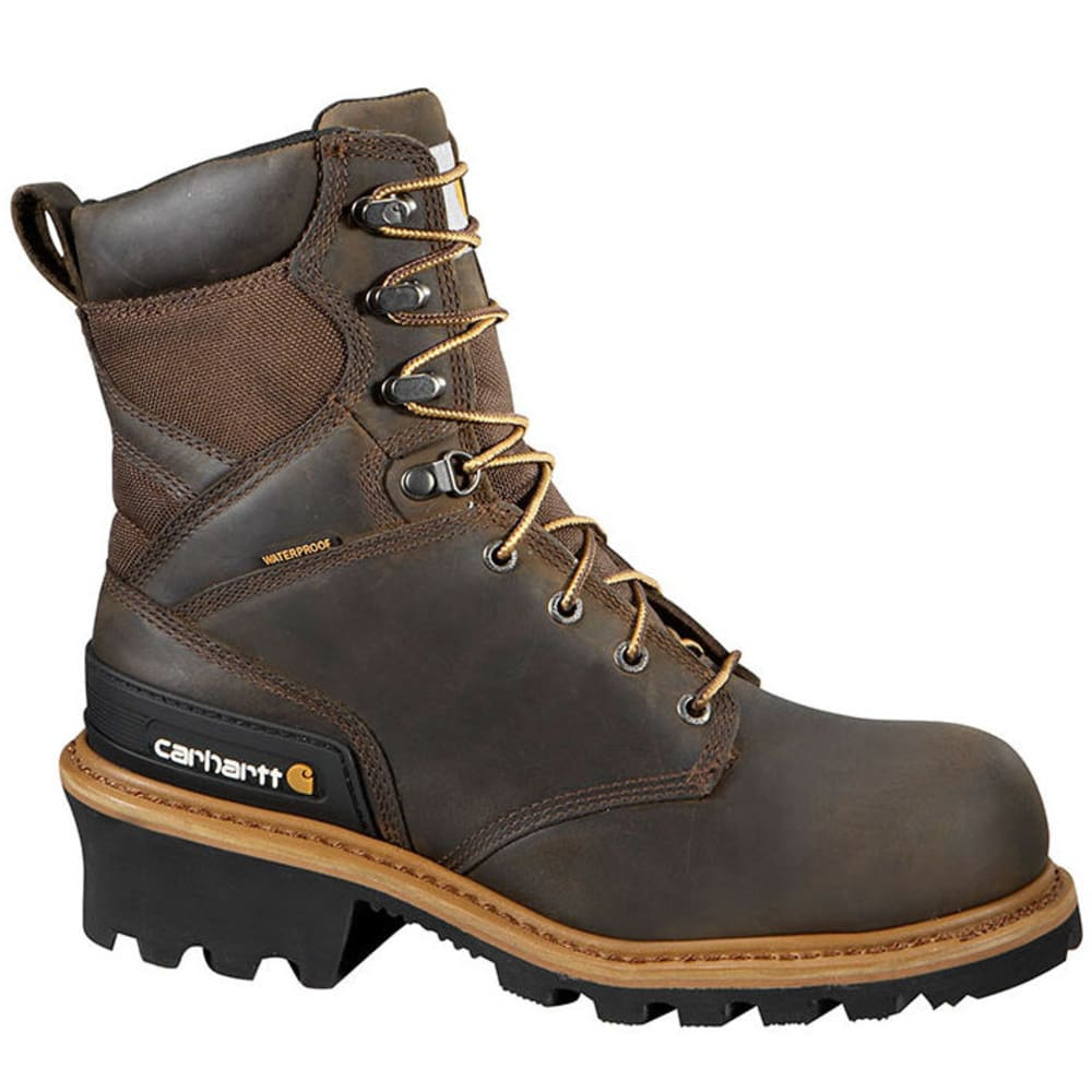 CARHARTT Men's 8-Inch Waterproof Non-Safety Toe Logger Boots - CRAZY HORSE BROWN