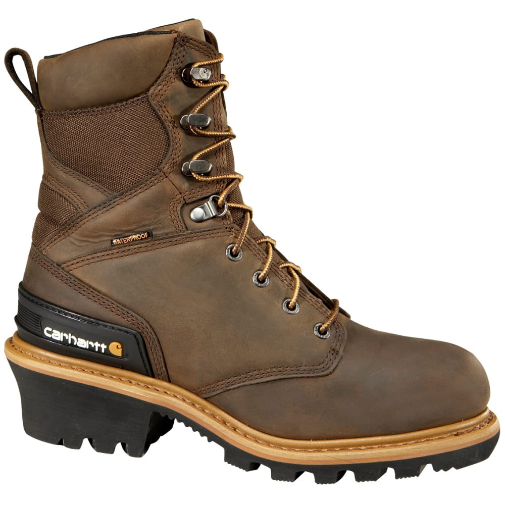 CARHARTT Men's 8-Inch Waterproof Insulated Logger Work Boots - BROWN