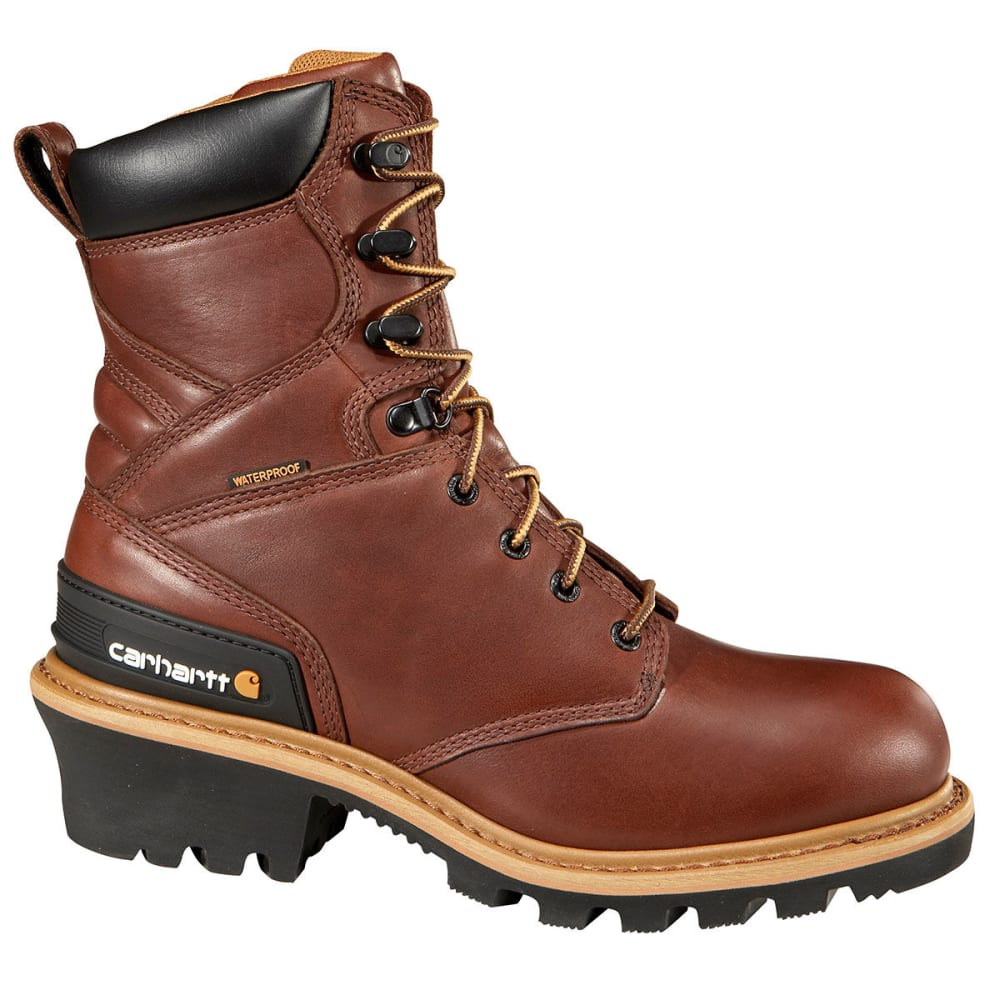 CARHARTT Men's Waterproof Logger Boots - REDWOOD - MED