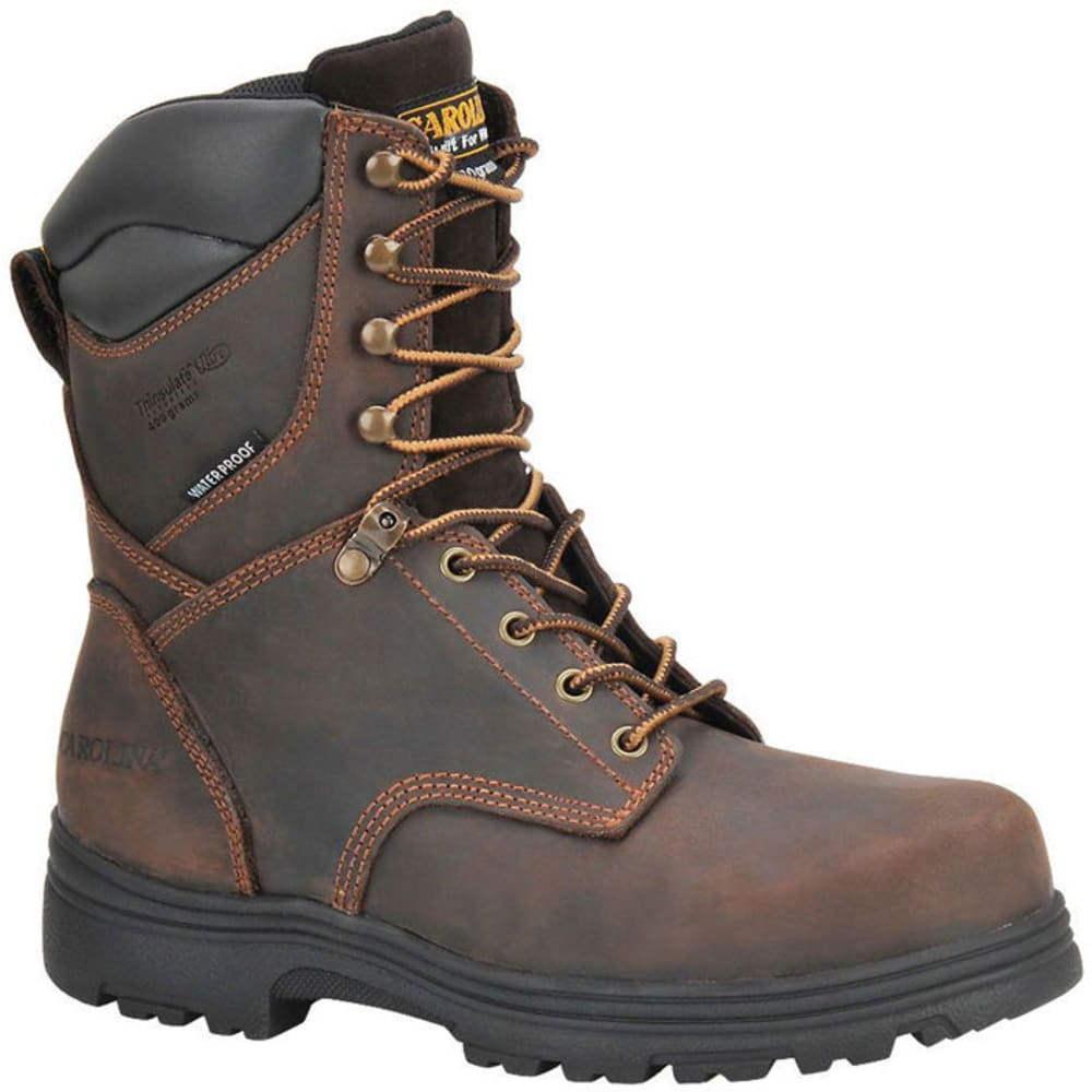 Carolina Men's 8 In. Waterproof Insulated Work Boots, Medium Width - Brown, 8.5