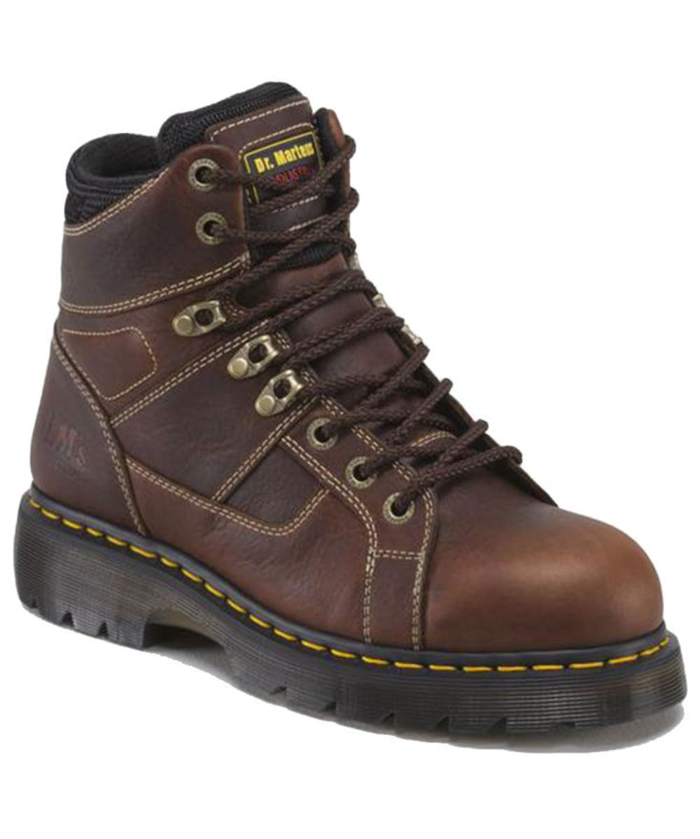 DR. MARTENS Men's 6 in. Ironbridge Steel Toe Work Boots, Teak Brown - BROWN