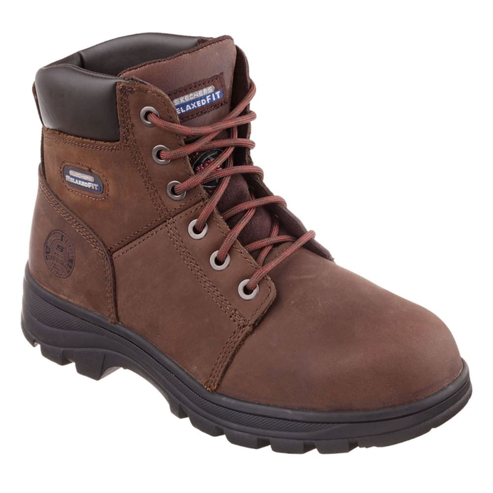 SKECHERS Men's Workshire Relaxed Fit® Steel Toe Boot's - BROWN